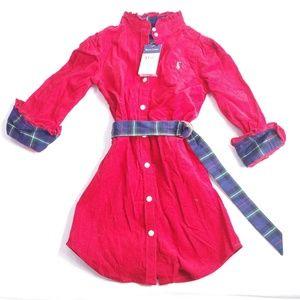 Ralph Lauren Corduroy Red Dress Plaid  Belt